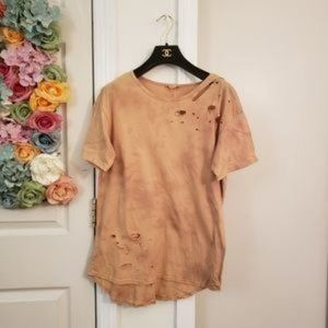 New DANCE & MARVEL Tie Dye T-shirt Brown Ripped